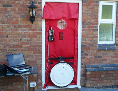 Front door sealed for air leakage testing